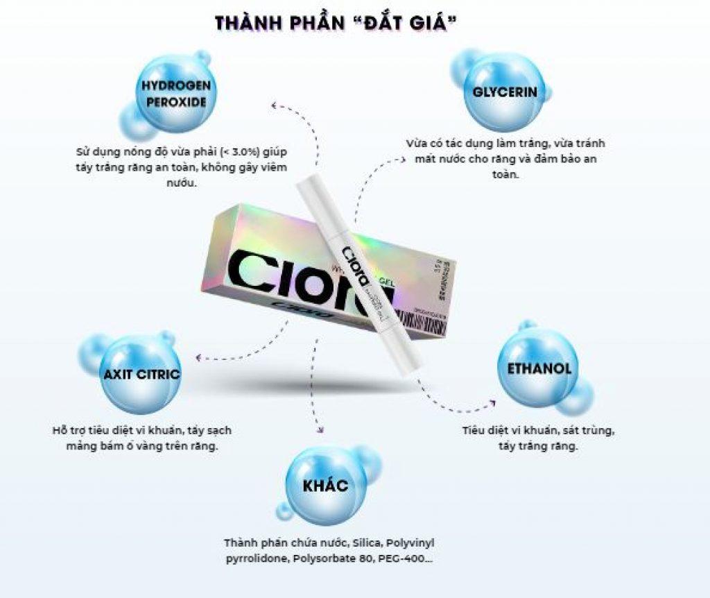 Chất gel được tổng hợp từ các thành phần đắt giá chuyên biệt để làm trắng răng như