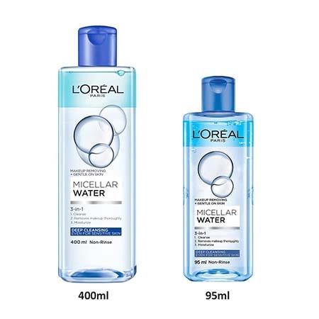 Nước tẩy trang L'Oreal Paris Micellar Water Deep Cleasing (nắp chai màu xanh dương đậm)