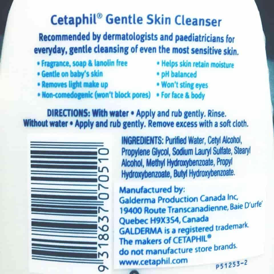 Thành phần sữa rửa mặt Cetaphil