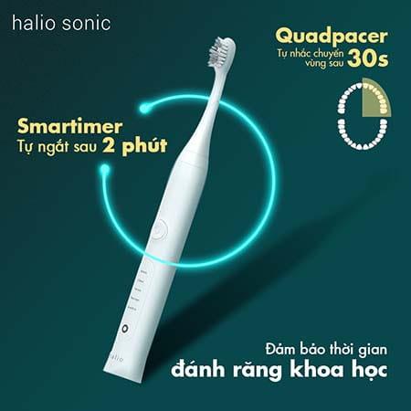 Bàn chải điện Halio được trang bị tính năng smartimer tự ngắt sau 2 phút sử dụng