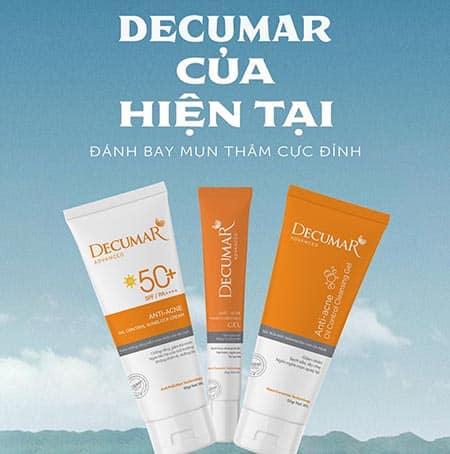 Hiện tại thì decumar cung cấp ra thị trường các loại sản phẩm như kem trị mụn, gel rửa mặt, kem chống nắng,