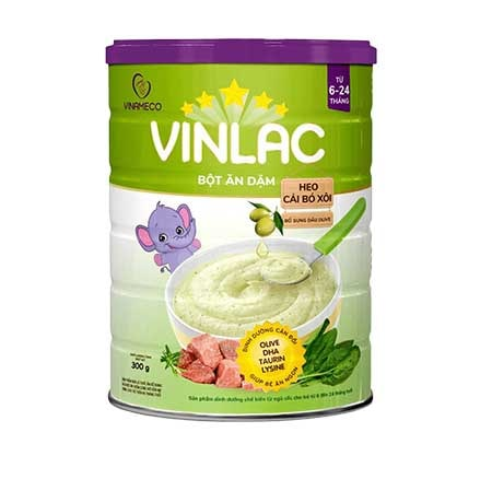 Bột ăn dặm Vinlac heo cải bó xôi - Vị mặn
