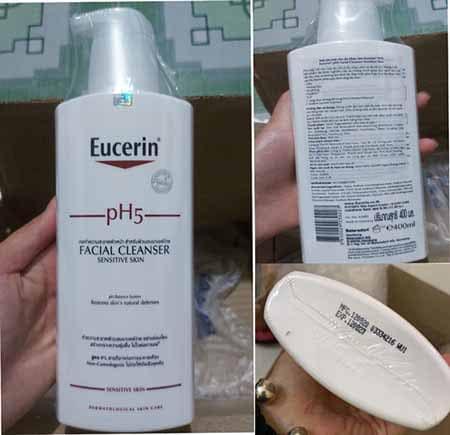 Sữa rửa mặt Eucerin pH5 có thiết kế dạng chai dung tích 400ml ,