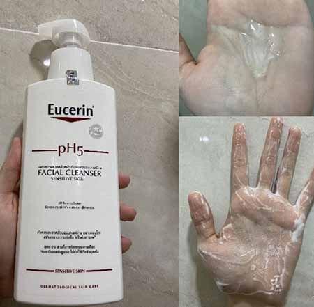 Eucerin pH5 Facial Cleanser tạo bọt mức vừa phải