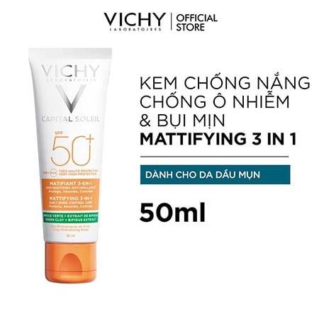 Kem Chống Nắng Vichy chống bụi mịn Capital Soleil Mattifying 3 in 1 Spf50+