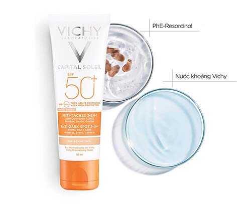 Kem chống nắng giảm thâm nám Vichy Capital Soleil UVB+UVA Anti Dark Spot 3 in 1 SPF 50+