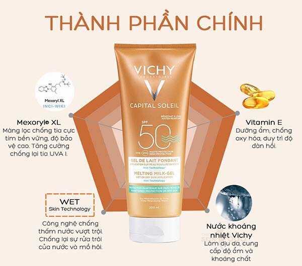 Kem chống nắng toàn thân Vichy Ideal Soleil Ultra-Melting Mik Gel SPF 50 PA+++