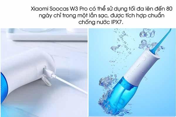 Các bộ phận trên chiếc Xiaomi – Soocas W3 Pro cũng đạt chuẩn kháng nước ipx7